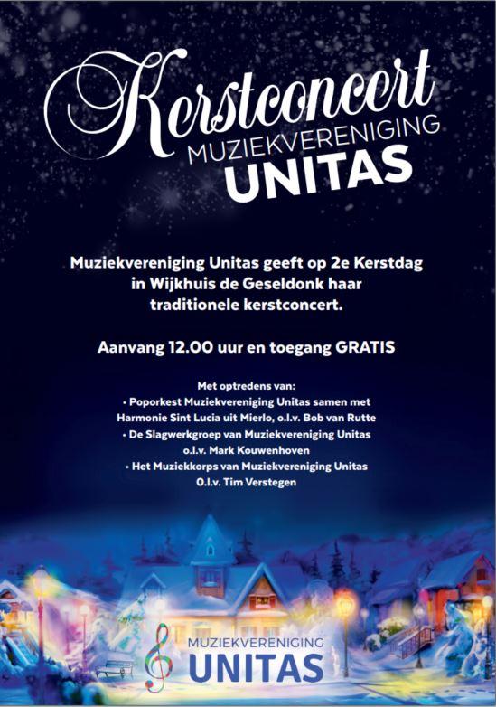 Kerstconcert door Muziekvereniging Unitas in wijkhuis De Geseldonk